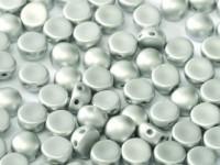 2-hole Cabochon 6 mm Alabaster Metallic Silver 25 Stück
