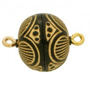 Magnetverschluss Kugel 13,5mm schwarz goldgraviert