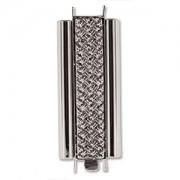 Beadslide Verschluss Cross Hatch versilbert 10x29mm