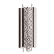 Beadslide Verschluss Squiggle Design silver plated 10x29mm