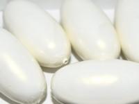 Paper Mache Bead Olive 40x18 mm Pearl White
