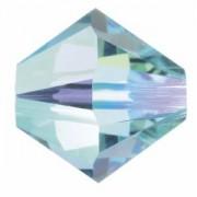 Swarovski Elements Perlen Bicones 4mm Aquamarine AB Satin beschichtet 50 Stück