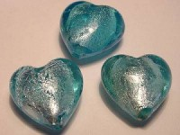 Glasperlen silverfoiled Herz 20x20mm aqua 10 Stück