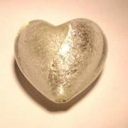 Glasperlen silverfoiled Herz 20x20mm crystal 10 Stück