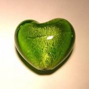 Glasperlen silverfoiled Herz 28x25mm oliv 10 Stück