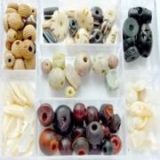 Glasperlen Mix L natur Holz- Muschel- Knochenperlen