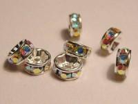 Swarovski Elements Strassrondelle 4mm Steine Crystal AB versilbert nickelfrei 10 Stück