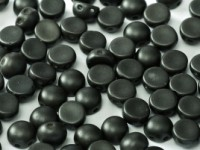 2-hole Cabochon 6 mm Alabaster Metallic Black 25 Stück