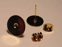 Ohrstecker mit Platte 8mm goldfarben