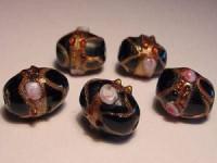 Glasperlen Oval 11x13mm Black