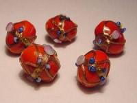 Glasperlen Oval 11x13mm Red