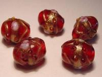 Glasperlen Oval 11x13mm Ruby