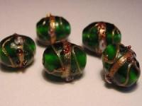 Glasperlen Oval 11x13mm Emerald