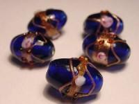 Glasperlen Oval 11x13mm Cobalt