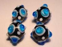 Glasperlen Rund mit Augen 11mm Black Capri