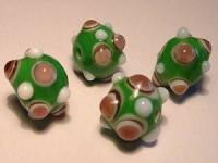 Glasperlen Rund mit Augen 11mm Light Green Light Amethyst