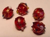 Glasperlen Rund 8-10mm Ruby
