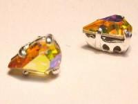Swarovski Elements Steine im Aufnähkessel mit 4 Löchern 8x5mm Crystal AB