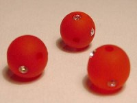Polarisperlen rund 10mm Matt mit Strass rot
