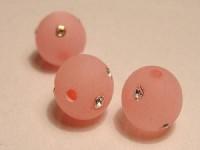 Polarisperlen rund 10mm Matt mit Strass pink