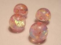 Polarisperlen rund 10mm Rosa Flitter