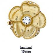 Schmuckverschluss Blüte 31mm Gold mit Swarovski Elements Steinen