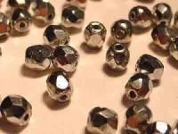 Glasschliffperlen 6mm Silber 50 Stück