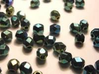Glasschliffperlen CZ 4mm Blau - Grün - Ultra irisierend 100 Stück
