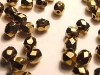 Glasschliffperlen CZ 4mm Metallic Altgold 100 Stück