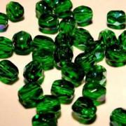 Glasschliffperlen 4mm Smaragd irisierend 100 Stück