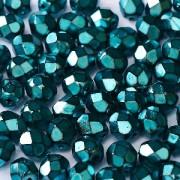 Glasschliffperlen 3mm Jet Heavy Metal Turquoise 100 Stück