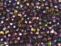 Glasschliffperlen 3mm Jet irisierend Purple 100 Stück