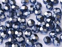 Glasschliffperlen 3mm Jet Heavy Metal Persian Blue 100 Stück