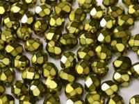 Glasschliffperlen 3mm Jet Heavy Metal Olivine 100 Stück