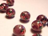 Glasperlen rund pinkig Röschen 8mm