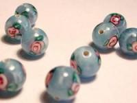 Glasperlen Lampwork Beads rund hellblau Röschen 8mm
