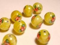 Glasperlen rund gelb Röschen 8mm