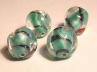 Glasperlen türkis rund  platte Flächen 10mm