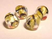 Glasperlen gelb rund platte Flächen 10mm
