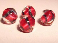 Glasperlen pink rund platte Flächen 10mm