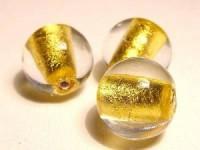 Glasperlen rund Goldfolie 12mm