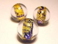 Glasperlen rund blauer Kern Goldfolie 12mm