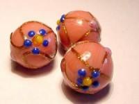 Glasperlen rund rosa Blüten goldglitzende Verzierung 14mm