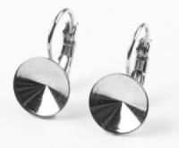 Ohrhakenfassung 10mm 1 Paar ohne Kesselrand versilbert nickelfrei