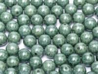 Glasperlen rund gepresst Chalk White Teal Luster 3mm ca 150 Stück