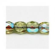 Glasschliffperlen 3mm Light Olivine irisierend 100 Stück
