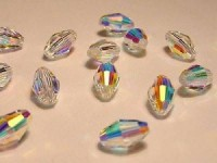 Swarovski Elements Perlen Oliven 7,5x5mm Crystal AB beschichtet 10 Stück
