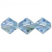 Swarovski Elements Perlen Bicones 4mm Aquamarine AB beschichtet 50 Stück