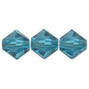 Swarovski Elements Perlen Bicones 4mm Blue Zircon 100 Stück