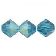 Swarovski Elements Perlen Bicones 4mm Blue Zircon AB beschichtet 50 Stück